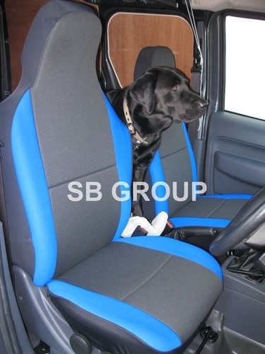 VW Caddy Van Seat Covers Anthracite Cloth Fabric With Blue